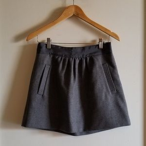J Crew Grey Wool Mini Skirt